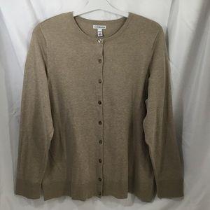 Croft & Barrow 1X Light Brown Cardigan Sweater